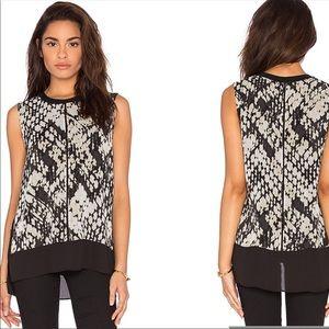 Vince Basketweave Print Silk Sleeveless Top